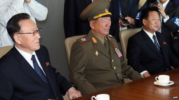 Three senior North Korean officials are in South Korea for the closing ceremony of the Asian Games - a visit seen as a rare opportunity for high-level talks.