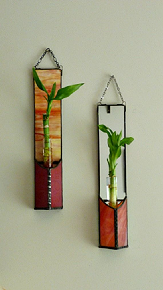 Lucky Bamboo Wall Plant Hanging Mirrored Red Orange by miloglass