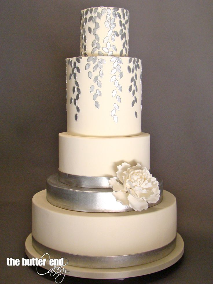 White and silver petal wedding cake by The Butter End Cakery