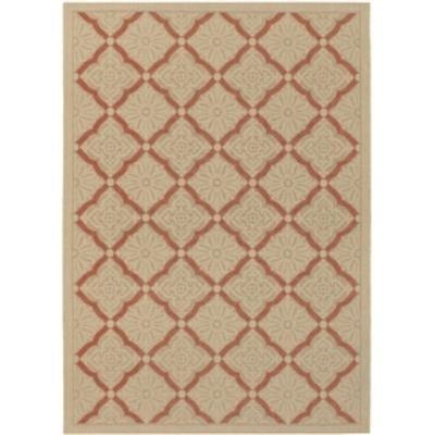 Terracotta & Cream Lattice Indoor/ Outdoor Area Rug 2' x 3'7