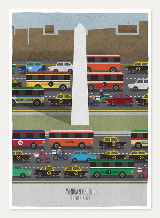 Avenida 9 de Julio, Buenos Aires, by Jorge Lawerta. He has a whole line of work depicting neighborhoods in Buenos Aires.