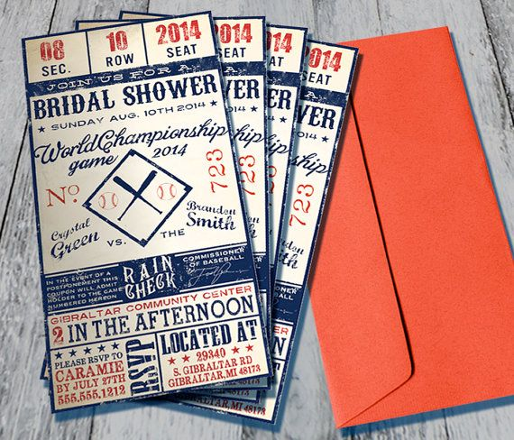 Vintage Baseball Themed Bridal Shower by HelloInvitations on Etsy