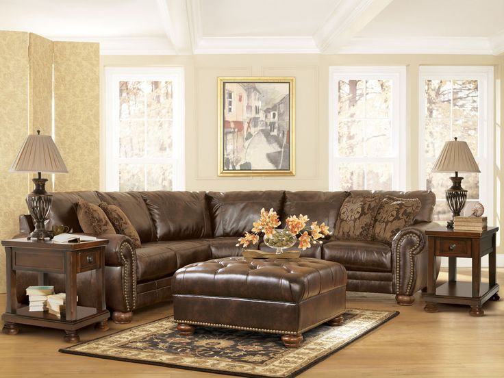 Details About Dark Brown Leather Match Fabric Sectional Sofa Chaise Ottoman Couch