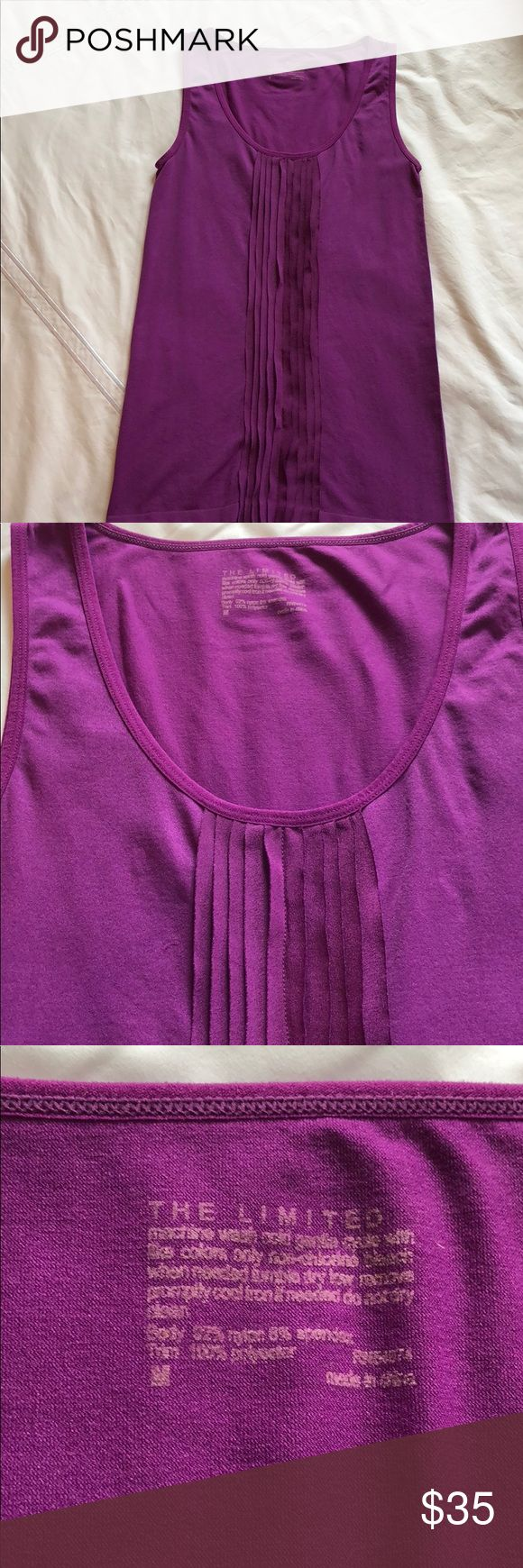 Purple Tank Top Beautiful purple tank top- just in time for spring and summer! Looks great under a blazer or cardigan at the office. Worn just once- I might not have worn it ever-I can't remember. It's in perfect, like new condition. The Limited Tops Tank Tops