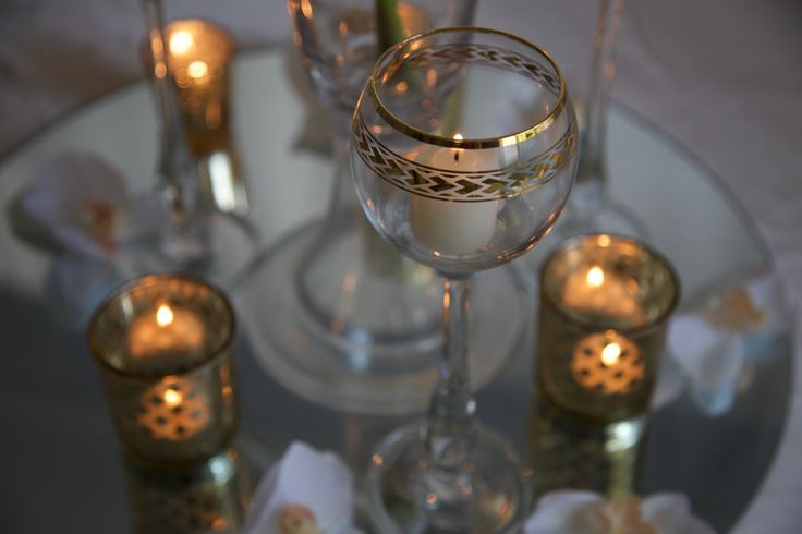 Glass stem candle holder with polynesian band - Set of 3