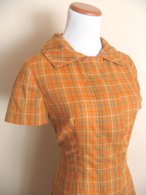 1950s Scooter Dress / Mustard Plaid Housedress with by miskabelle $52