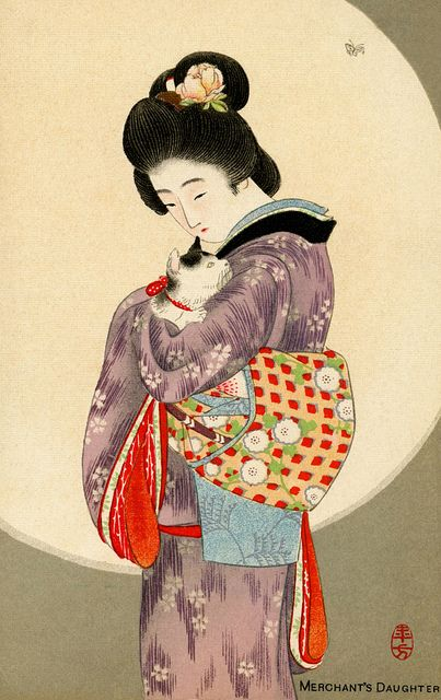 """The """"Merchant's Daughter"""", 1900 by Mizuno Toshikata (1866-1908). Based on a Japanese fairy-tale called the """"cat guardian"""" or """"the story of the faithful cat."""