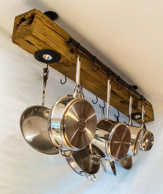 Best 25 pot hanger ideas on pinterest pot hanger for Reclaimed wood pot rack
