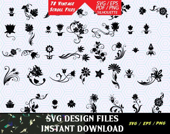 78 Vintage Floral Scroll Files used for Vinyl cutting and Silhouette Cameo Software SVG Vector Vintage Floral Scroll Files. SVG Stencils by svgDesignFiles on Etsy