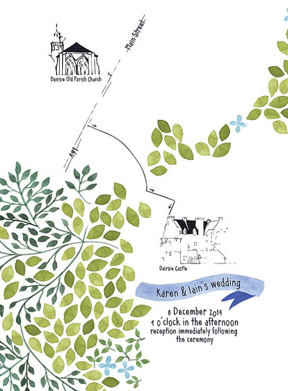 Custom Wedding Map and Accomodation Card with Watercolor Painting Pattern: Scottish Spring