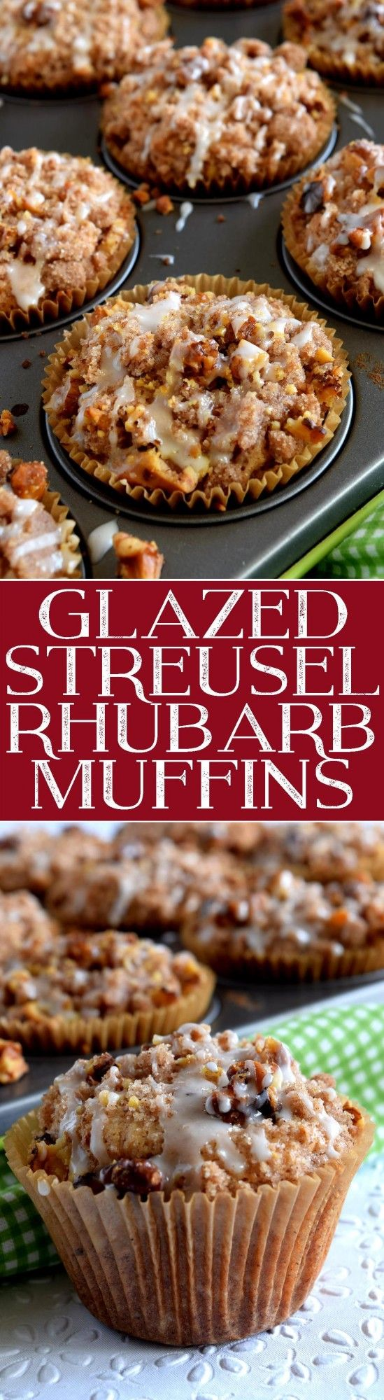 A blissfully tart muffin with just the right amount of sweet; Glazed Streusel Rhubarb Muffins consists of fresh rhubarb, walnuts, a crumb topping, and a gentle glazed drizzle.  Delicious!