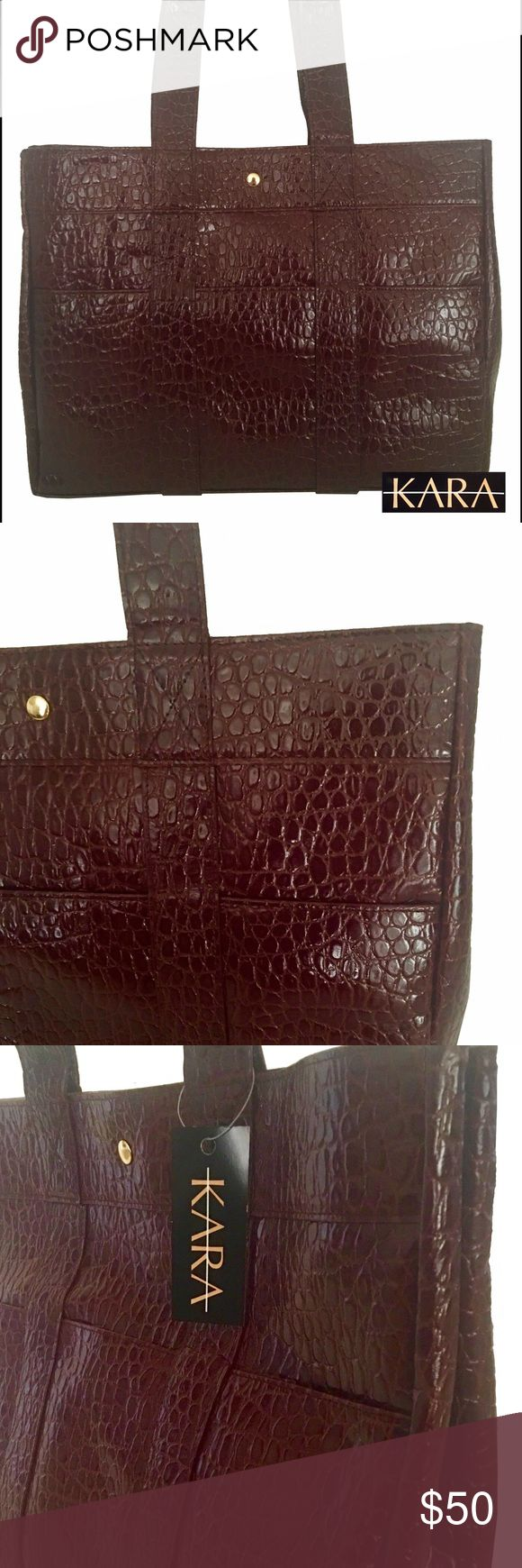 "LARGE PLUM CROCO LEATHER TOTE - KARA HANDBAG LARGE PLUM CROCO LEATHER TOTE  Brand: KARA Imports Handbag  Bag Overall Length: 19"" Bag Height: 13"" Bag Depth: 4"" Strap Drop: 6""  BRAND NEW, NEVER USED  Genuine leather, high quality handbag.  You absolutely get what you pay for!  NORMALLY RETAILS AT $235.00  It has double handles/straps. It has interior leather lining and one zipped pocket. KARA Imports Bags Totes"