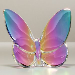 "Irise (blue/purple/pink/orange) full-lead crystal. Opalescent overtones. 3.375""W…"