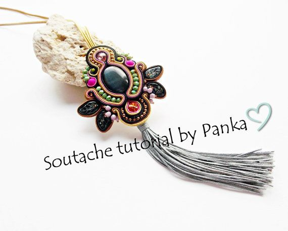 Sale 50 % Soutache pendant tutorial. Boho by Soutachebypanka