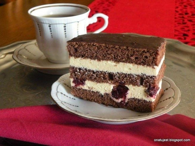 Cocoa cake with cappuccino cream and cherries, elegant and delicious, for any occasion, recommend and invite #cake #cooking #cherries