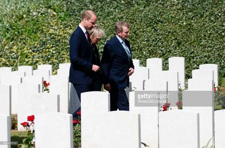 Britain's Prince William, Duke of Cambridge, Princess Astrid of Belgium and Irish Prime Minister Enda Kenny arrive to attend a wreath-laying ceremony during the Battle of Messines Ridge commemorations at the military cemetery in Wijtschate, Belgium, on June 7, 2017. The Battle of Messines took place June 7-14, 1917 and was an offensive conducted by the British Second Army, during the First World War. LENOIR