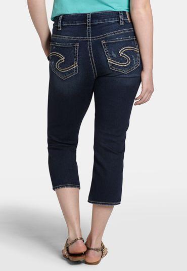 silver jeans co. ® suki dark wash plus size joga capri - maurices