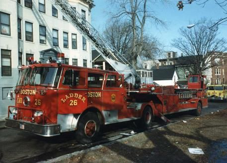 Boston Fire Trucks | Ladder 26's 1976 Seagrave 100' ladder truck on Walnut Av., Jamaica ... One of my father's companies.  The Huntington Ave. Express