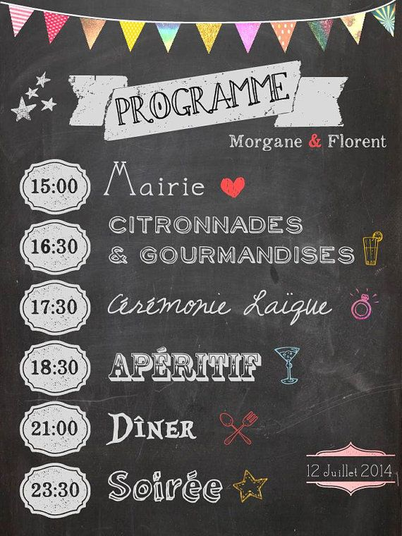 Programme de Mariage - Chalkboard wedding program sur Etsy, 15,00 €