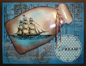 Stampin Up! The Open Sea. Bottle is made using the Apothecary Accents Framelit Die. You will need to scroll part way down the page as there are other tutorials on this one page. Has link to free PDF tutorial.
