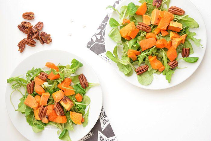 Pumpkin Sweet Potato Salad with candied pecans #lowFODMAP  via Karlijn W