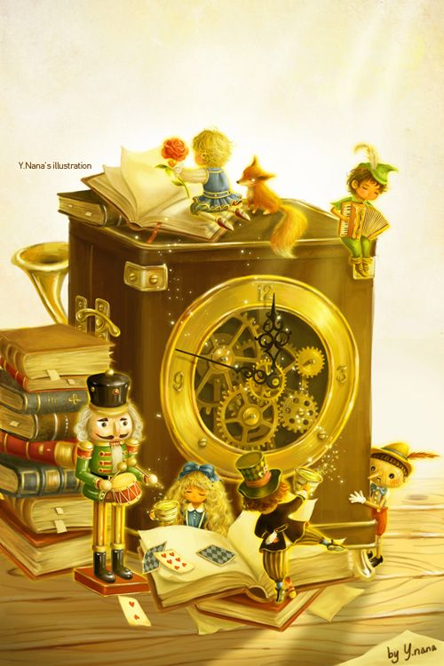 """Y. Nana, illustration of """"Children Forever"""". So magical. The gold tones are fantastic."""