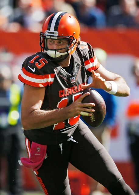 Patriots vs. Browns:     October 9, 2016   -  33-13, Patriots  -     Cleveland Browns quarterback Charlie Whitehurst rolls out to pass against the New England Patriots in the first half of an NFL football game, Sunday, Oct. 9, 2016, in Cleveland.
