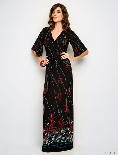 Leona Edmiston Babette Dress with kimono-style sleeves and quirky print.