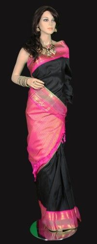 Black Kanjeevaram Saree with Pink Zari Border
