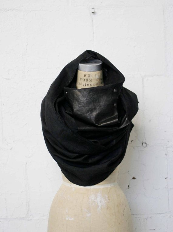 Sale / Black Linen and Leather Long Scarf / Men's Black Scarves / Women's Fashion Accessories
