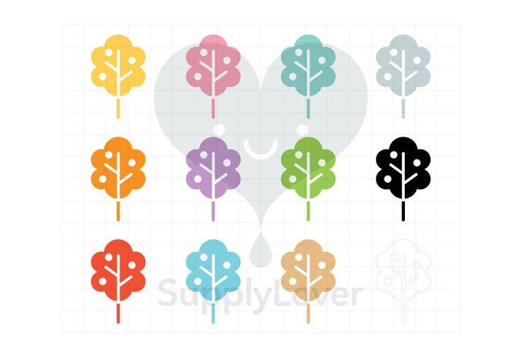 PEACH TREE Clip-Art Commercial Use, Tree, Fruit, Apples, Garden, Nature, Cut Out, Flat, Symbol, Icon, Bush, Foliage, 12 Colors - B0082