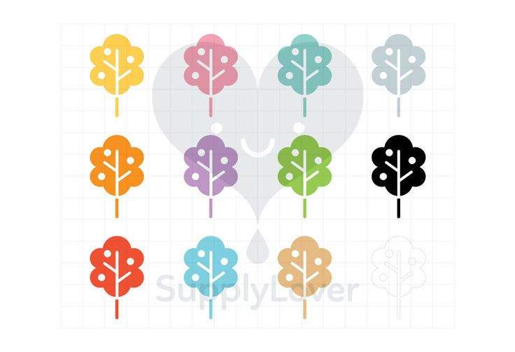 PEACH TREE Clip-Art Commercial Use, Tree, Fruit, Apples, Garden, Nature, Cut Out, Flat, Symbol, Icon, Bush, Foliage, 12 Colors - B0082
