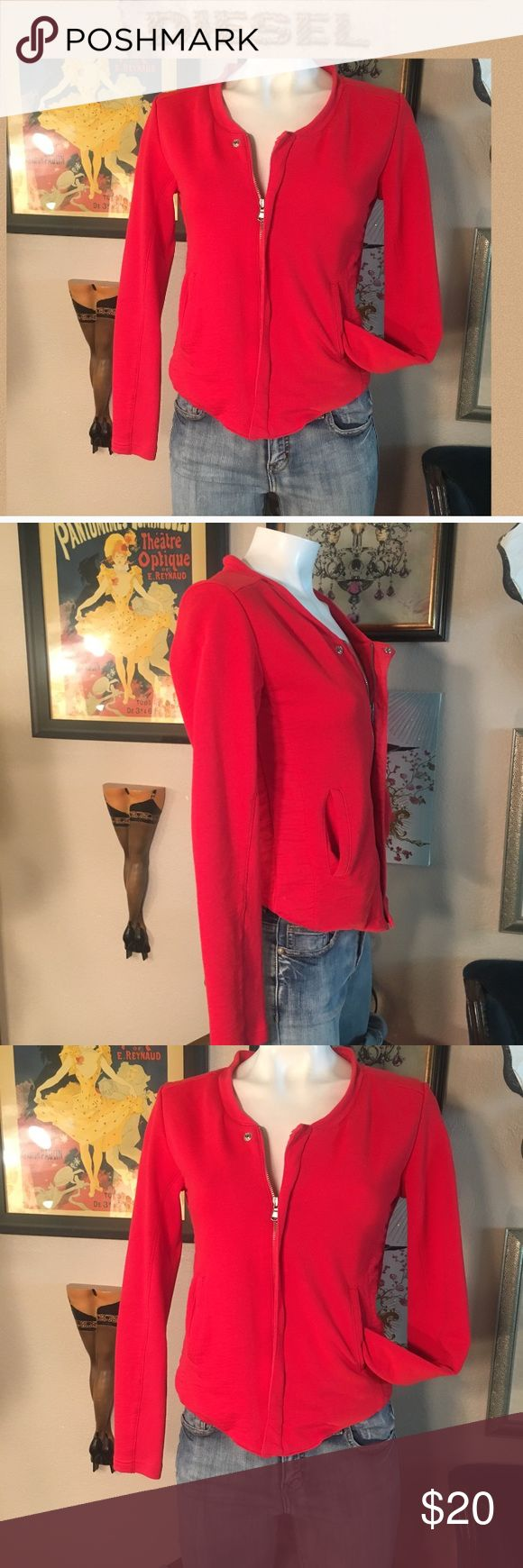 Diesel red jacket/top Zip front, side gathers, gently worn condition, price reflects. True small Diesel Tops