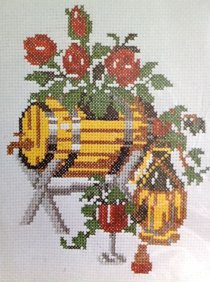 Columbia Minerva Kit Cross Stitch Vintage 6708 Barrel Of Roses 8x10 Counted #ColumbiaMinerva #Sampler