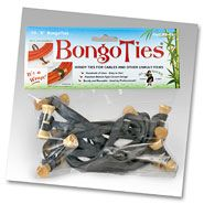 BongoTies - Handy Elastic Tie Wraps for Cables and Other Unruly Items --- a favorite organizing product of mine!