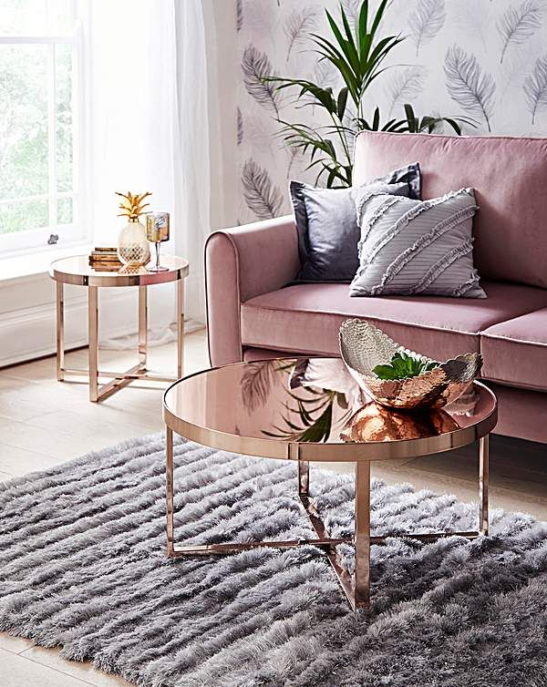 Ayla Rose Gold Mirrored Side Table In 2019 Coffee