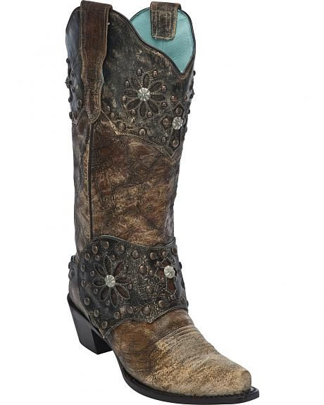 Corral Women's Collar and Harness Cowgirl Boots - Snip Toe