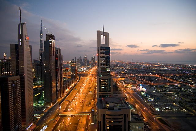 Dubai and Sheikh Zayed road, absolutely among the most amazing views I've ever seen! The photo is taken from Four Points by Sheraton rooftop area. Never get tired of the views!