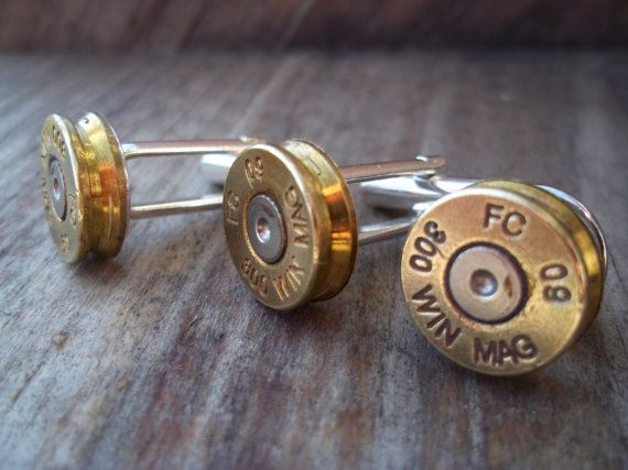 300 WIN MAG Cuff Link and Tie Tack Set by Sarahsjewelrydesigns, $45.00