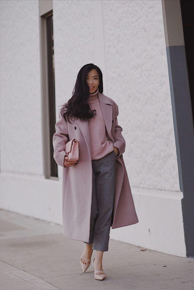 Pink Coat & Checked Wool Pants