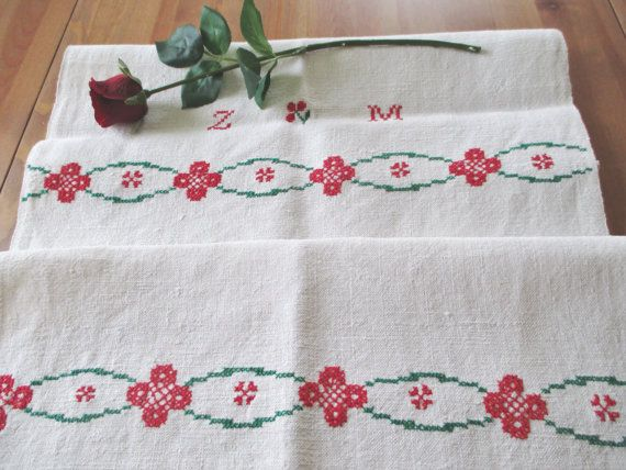 46. Vintage hand embroidered pure linen by vintagelinenbroidery