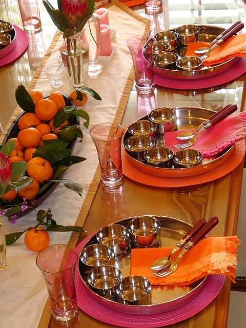 Place setting for reception. Thaali meals. Self Serve at each table. Fresh naan/rotis.