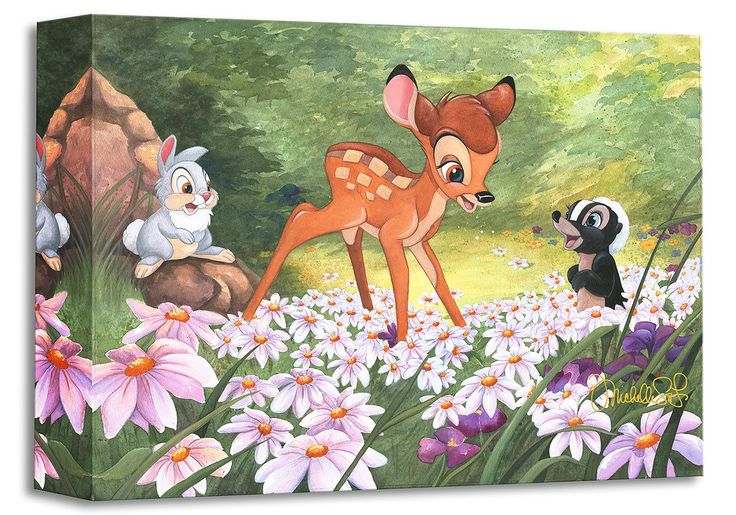 Bambi - The Joy a Flower Brings - Thumper - Gallery Wrapped - Michelle St. Laurent - World-Wide-Art.com - #disney #michellestlaurent #disneytreasuresoncanvas #gallerywrapped #bambi #thumper