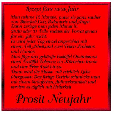 Rezept für ein glückliches Neues Jahr