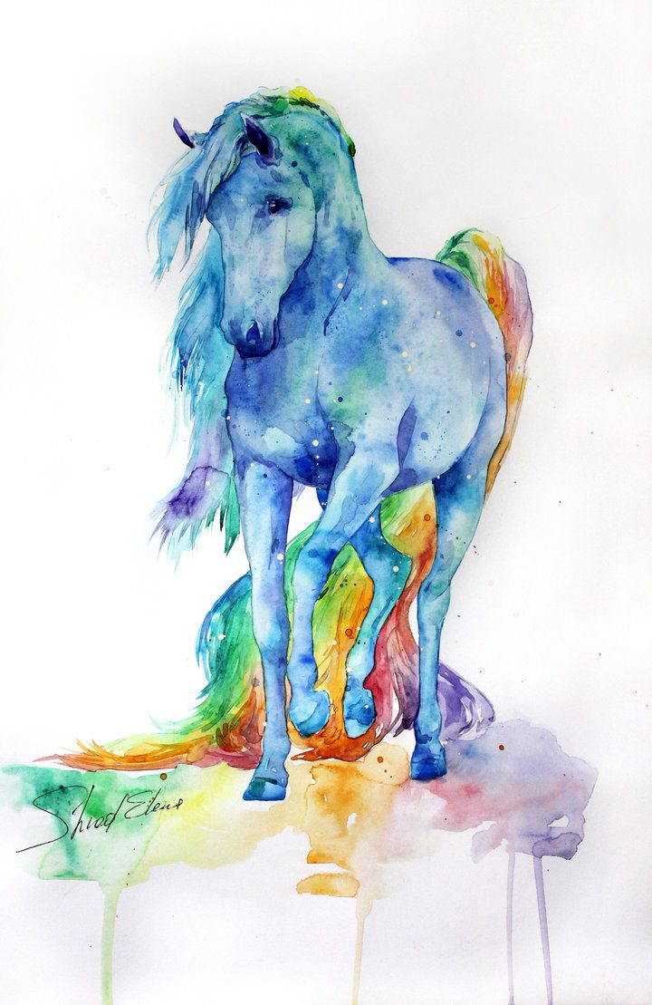 Rainbow colors watercolor horse painting. 27 by ElenaShved on DeviantArt