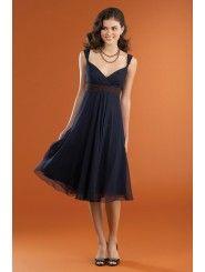Chiffon V-Neckline Knee-Length Empire Bridesmaid Dress
