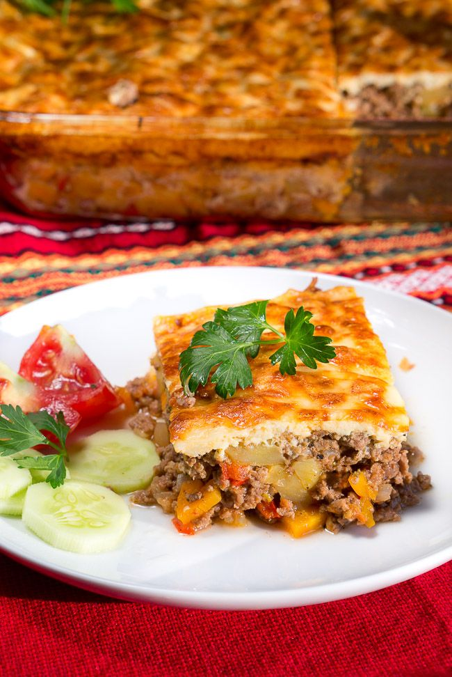 Bulgarian Simple Moussaka Recipe - Delicious traditional Mediterranean dish made with potatoes, vegetables & ground beef. One pan meal that can feed an army.