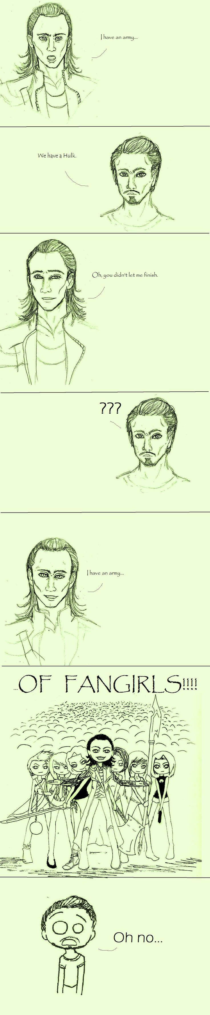 I don't understand the fan girl-ing over Loki, but I found this funny anyway. Yes, Tony. I would run too.