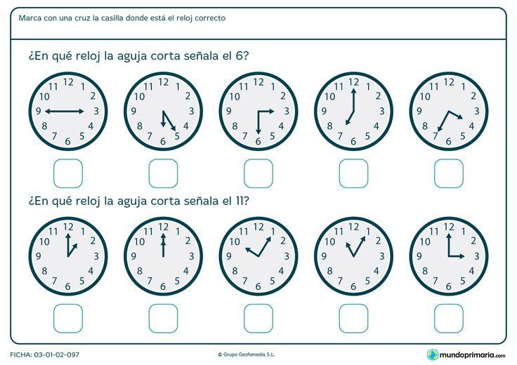 Ficha de qué marca la aguja del reloj para primero de primaria ...