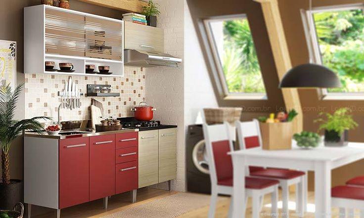 Cozinha Modulada Completa 4 Módulos Elis Branco/Tirol/Vermelho - Glamy